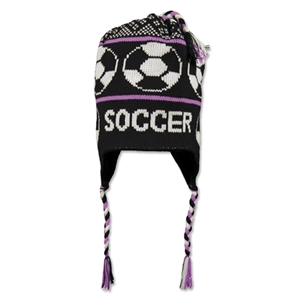 Fleece Lined Soccer Knit Hat (Black/Pink)