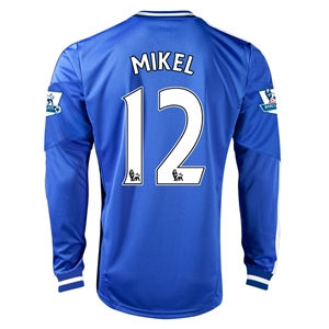 Chelsea 13/14 12 MIKEL LS Home Soccer Jersey