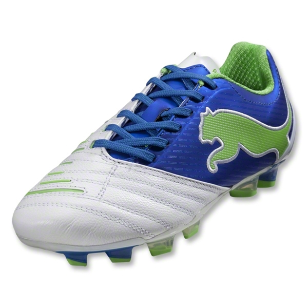 PUMA PowerCat 2.12 FG Women's Cleats (White/PUMA Royal/Green Flash)