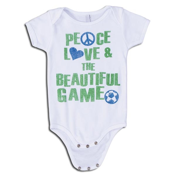 Peace Love & The Beautiful Game Soccer Onesie (White)