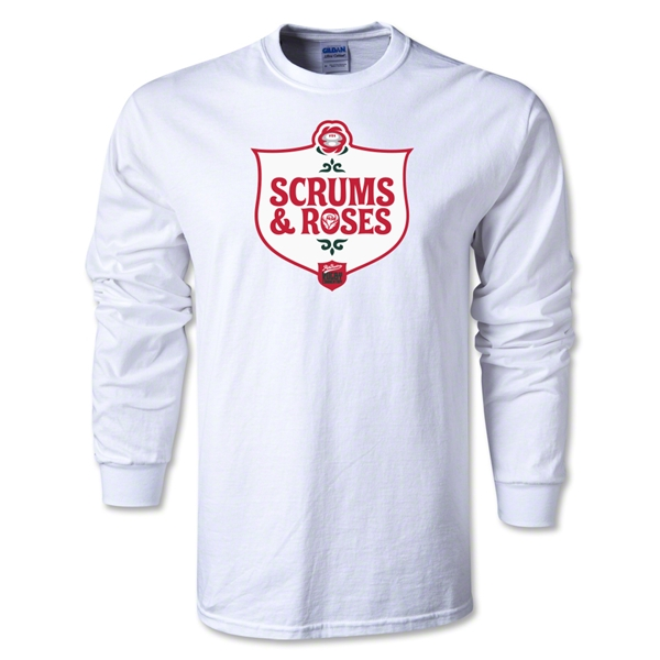 Scrum and Roses Alternative Rugby Commentary LS T-Shirt (White)