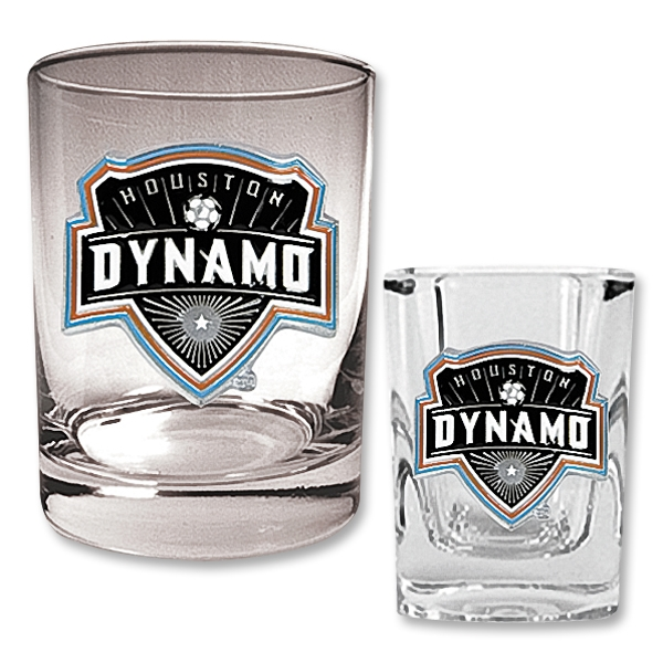 Houston Dynamo Rocks Glass and Square Shot Glass Set
