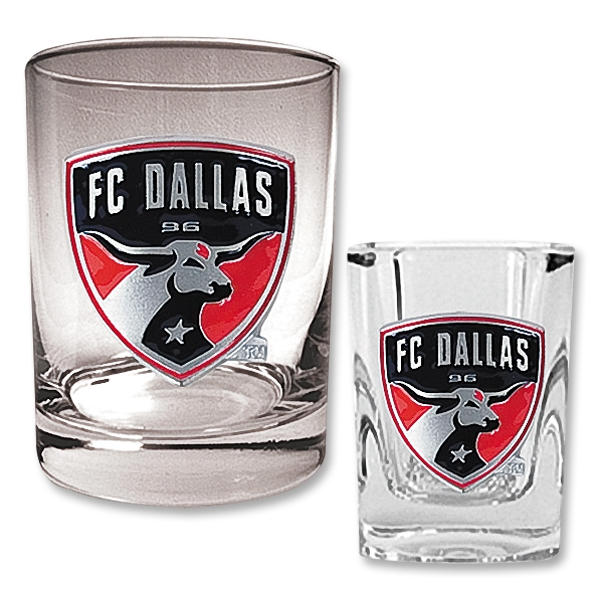 FC Dallas Rocks Glass and Square Shot Glass Set