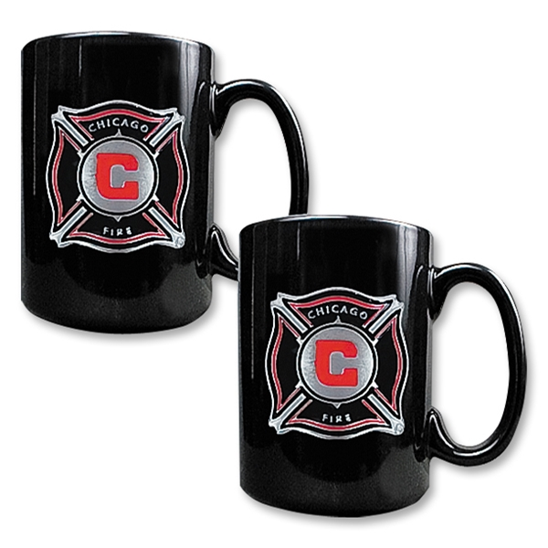 Chicago Fire 2 pc Black Ceramic Mug Set