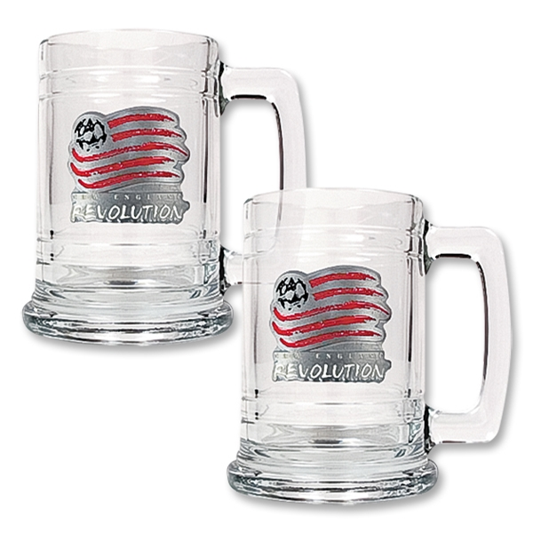 New England Revolution 2 pc. 15 oz Glass Tankard Set