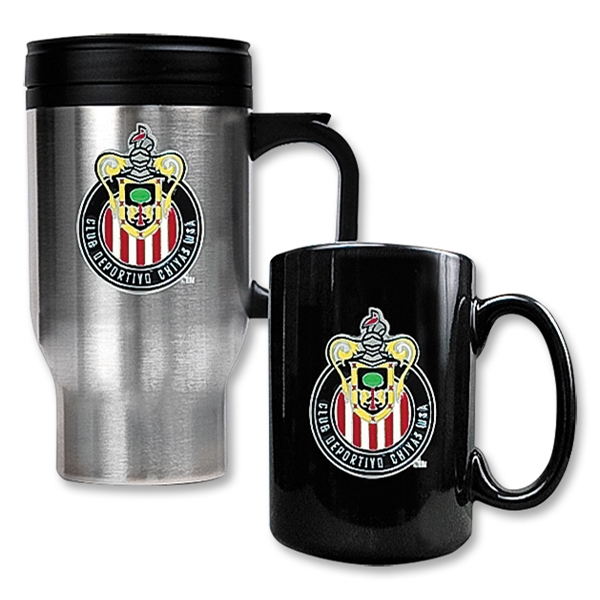 Chivas USA Stainless Steel Travel Mug and Black Ceramic Mug