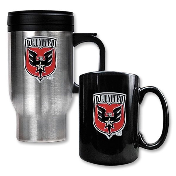 D.C. United Stainless Steel Travel Mug and Black Ceramic Mug