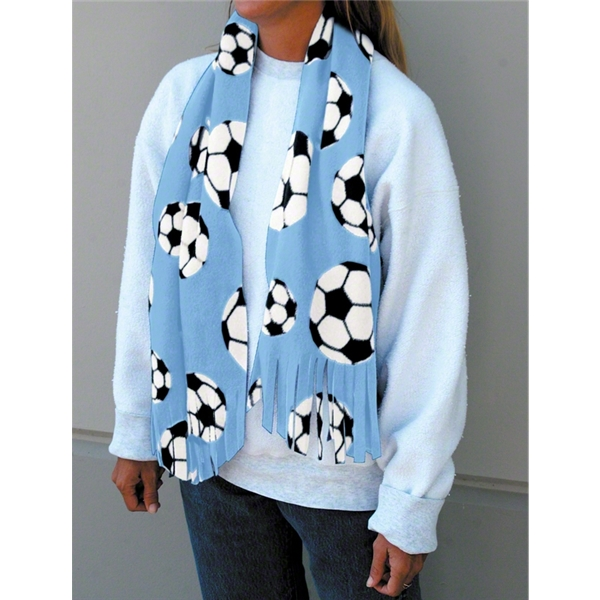 Soccer Ball Fleece Scarf (Sky)