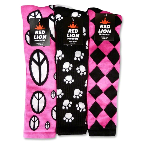 Peace/Jester/Paws Sock (Neon Pink)