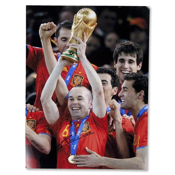 ICONS Andres Iniesta Signed Lifting the World Cup Trophy Photo