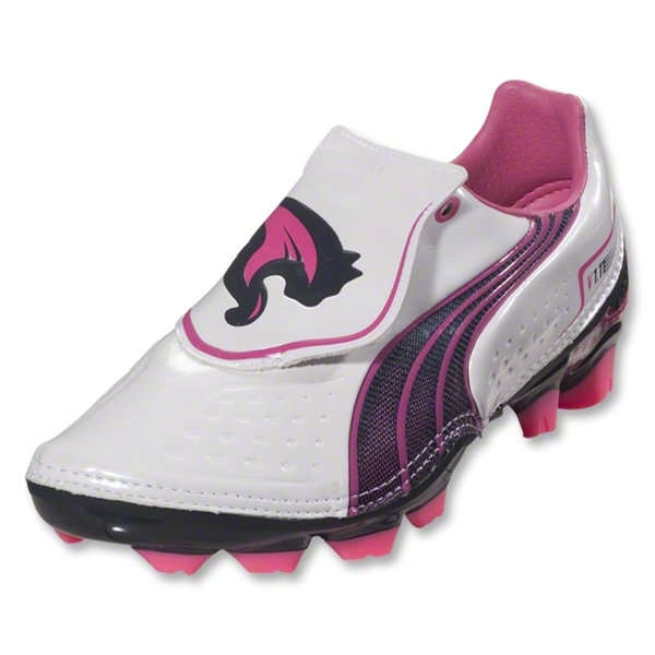 PUMA V1.11 i FG KIDS Cleats (White/New Navy/Fluo Pink)
