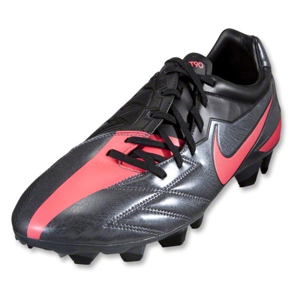 Nike T90 Strike IV FG Cleats (Dark Grey/Black/Solar Red)