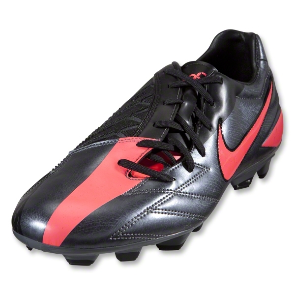 Nike T90 Shoot IV FG Cleats (Dark Grey/Black/Solar Red)