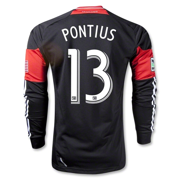 DC United 2013 PONTIUS LS Authentic Primary Soccer Jersey