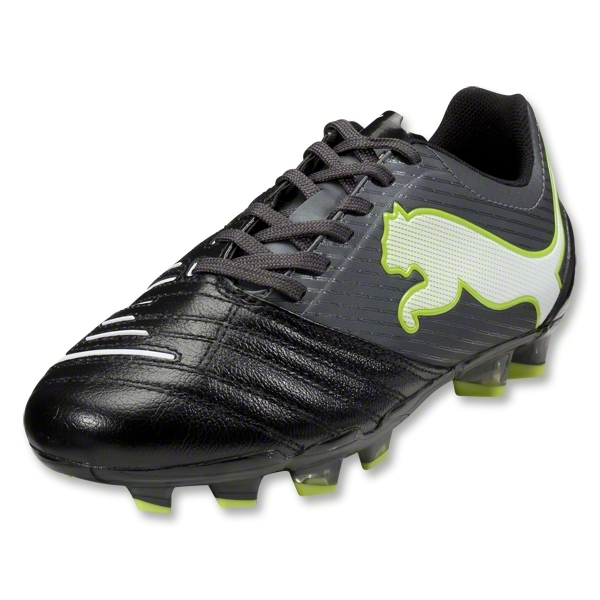 PUMA PowerCat 2.12 FG KIDS Cleats (Black/Dark Shadow/White Lime Punch)