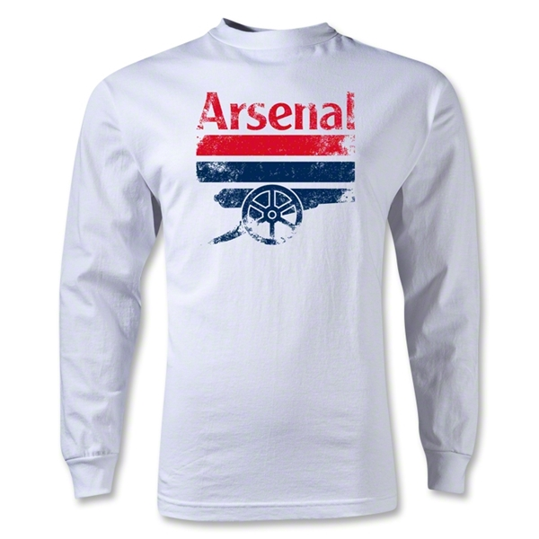 Arsenal Distressed Graphic LS T-Shirt (White)