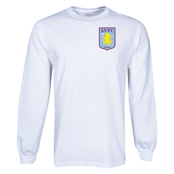 Aston Villa Small Crest LS T-Shirt (White)