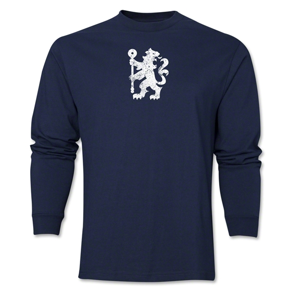 Chelsea Distressed Lion LS T-Shirt (Navy)