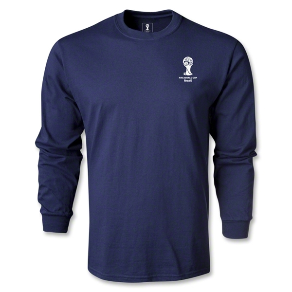 2014 FIFA World Cup Brazil(TM) Men's LS Emblem Fashion T-Shirt (Navy)