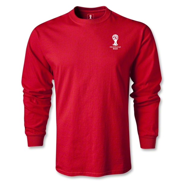 2014 FIFA World Cup Brazil(TM) Men's LS Emblem Fashion T-Shirt (Red)