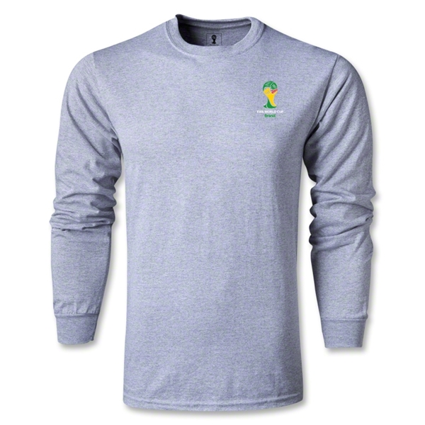 2014 FIFA World Cup Brazil(TM) Men's LS Emblem Fashion T-Shirt (Grey)
