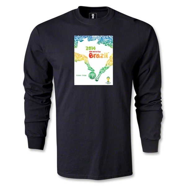 Official Event Poster 2014 FIFA World Cup Brazil(TM) Men's LS T-Shirt (Black)
