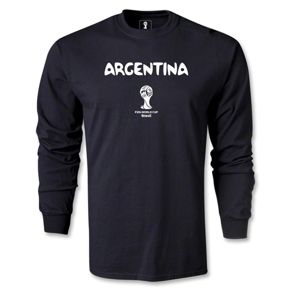 Argentina 2014 FIFA World Cup Brazil(TM) Men's LS Core T-Shirt (Black)