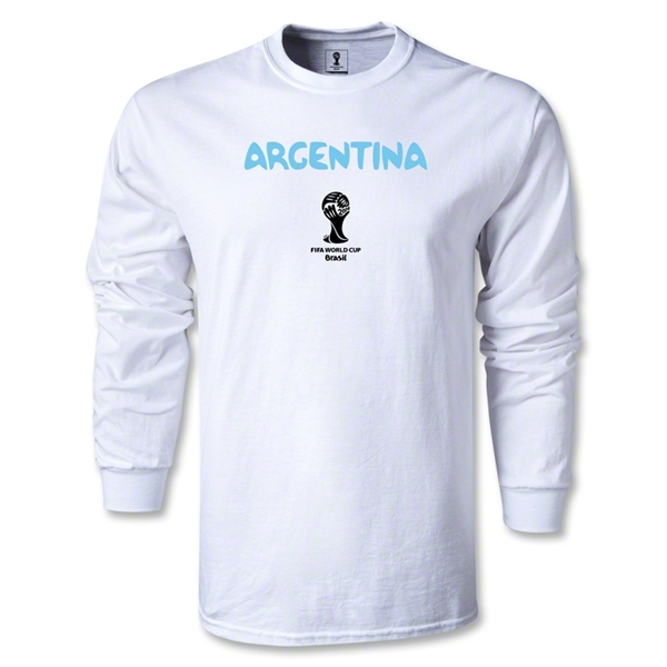 Argentina 2014 FIFA World Cup Brazil(TM) Men's LS Core T-Shirt (White)