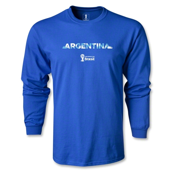 Argentina 2014 FIFA World Cup Brazil(TM) Men's LS Palm T-Shirt (Royal)