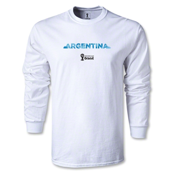 Argentina 2014 FIFA World Cup Brazil(TM) Men's LS Palm T-Shirt (White)