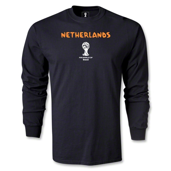 Netherlands 2014 FIFA World Cup Brazil(TM) Men's LS Core T-Shirt (Black)