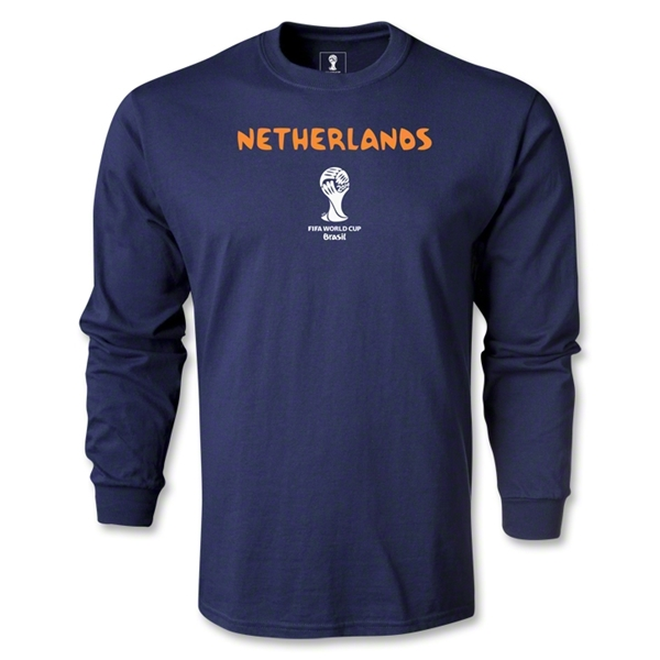 Netherlands 2014 FIFA World Cup Brazil(TM) Men's LS Core T-Shirt (Navy)