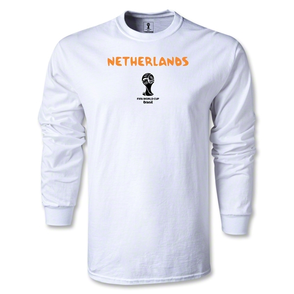 Netherlands 2014 FIFA World Cup Brazil(TM) Men's LS Core T-Shirt (White)