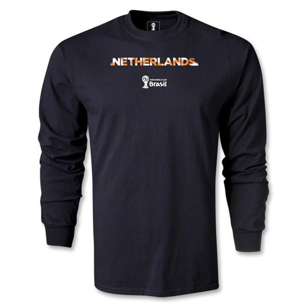Netherlands 2014 FIFA World Cup Brazil(TM) Men's LS Palm T-Shirt (Black)