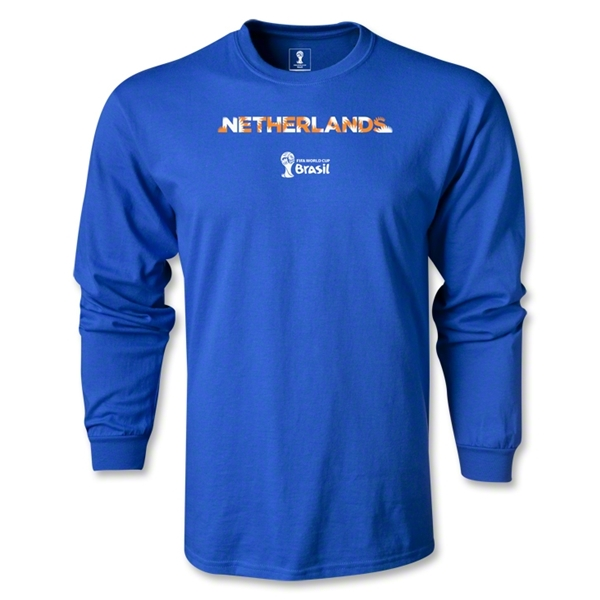 Netherlands 2014 FIFA World Cup Brazil(TM) Men's LS Palm T-Shirt (Royal)