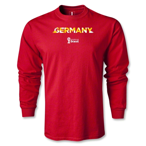 Germany 2014 FIFA World Cup Brazil(TM) Men's LS Palm T-Shirt (Red)