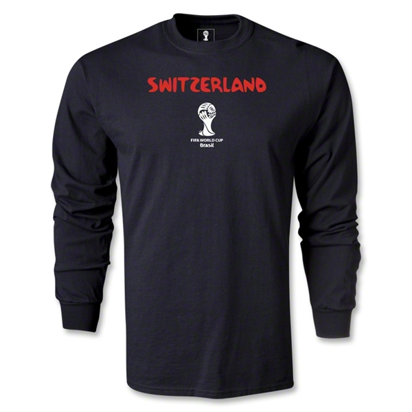 Switzerland 2014 FIFA World Cup Brazil(TM) Men's LS Core T-Shirt (Black)