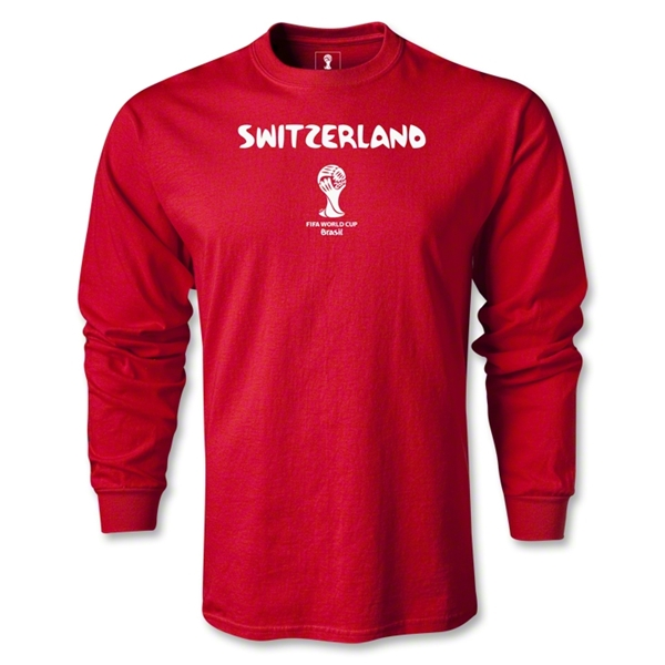 Switzerland 2014 FIFA World Cup Brazil(TM) Men's LS Core T-Shirt (Red)