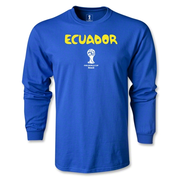 Ecuador 2014 FIFA World Cup Brazil(TM) Men's LS Core T-Shirt (Royal)
