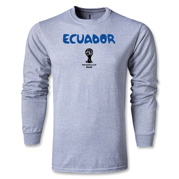 Ecuador 2014 FIFA World Cup Brazil(TM) Men's LS Core T-Shirt (Grey)