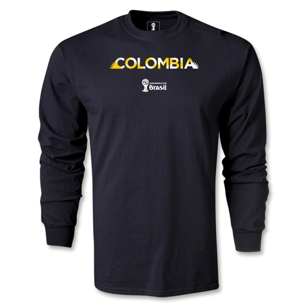 Colombia 2014 FIFA World Cup Brazil(TM) Men's LS Palm T-Shirt (Black)