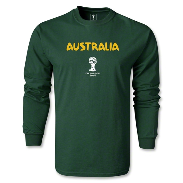 Australia 2014 FIFA World Cup Brazil(TM) Men's LS Core T-shirt (Dark Green)