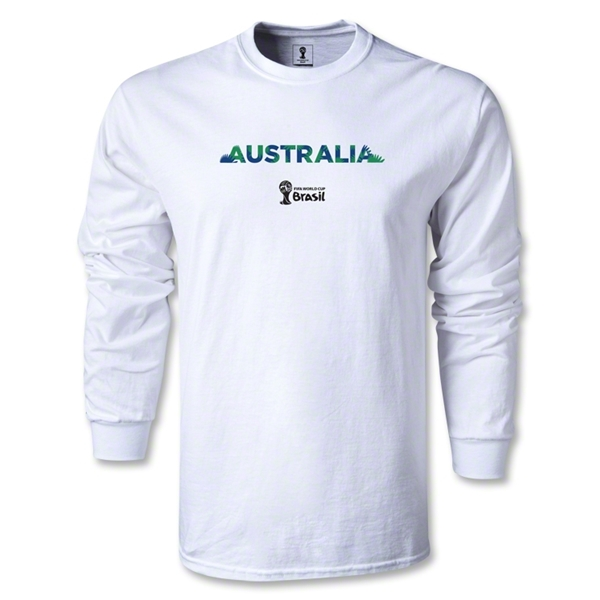 Australia 2014 FIFA World Cup Brazil(TM) Men's LS T-shirt (White)