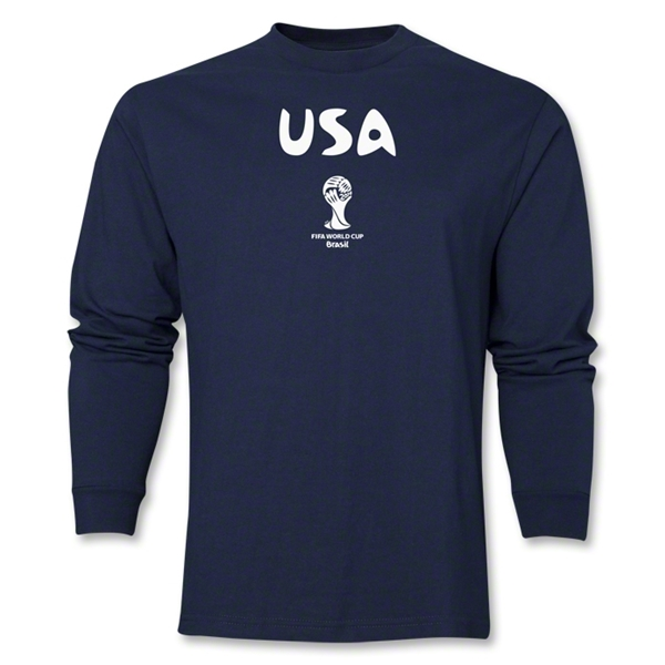 USA 2014 FIFA World Cup Brazil(TM) Men's Longsleeve Core T-Shirt (Navy)