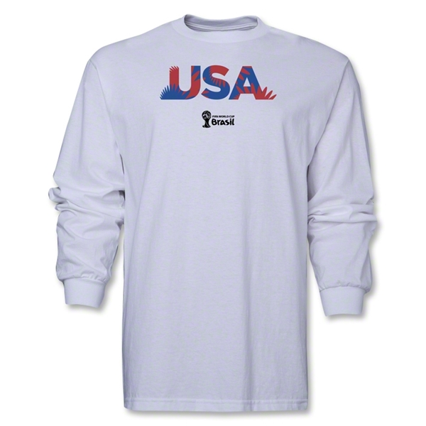 USA 2014 FIFA World Cup Brazil(TM) Men's LS Palm T-Shirt (White)