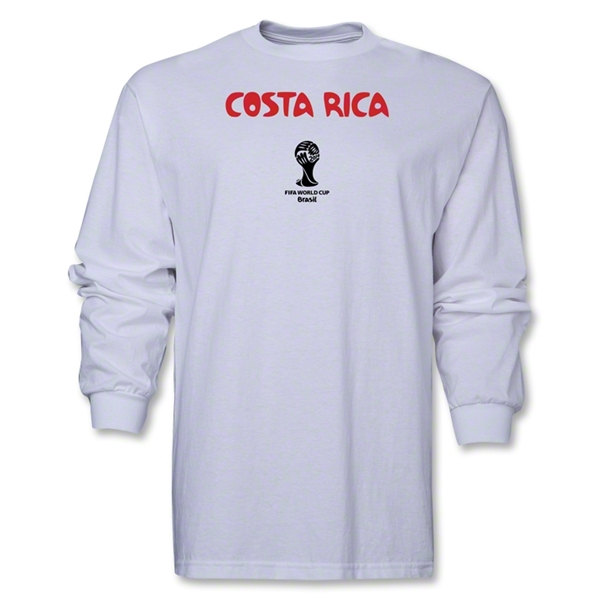 Costa Rica 2014 FIFA World Cup Brazil(TM) Men's Longsleeve Core T-Shirt (White)