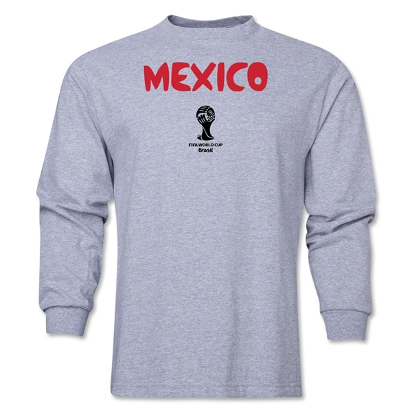 Mexico 2014 FIFA World Cup Brazil(TM) Men's LS Core T-Shirt (Grey)