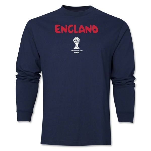 England 2014 FIFA World Cup Brazil(TM) Men's LS Core T-Shirt (Navy)