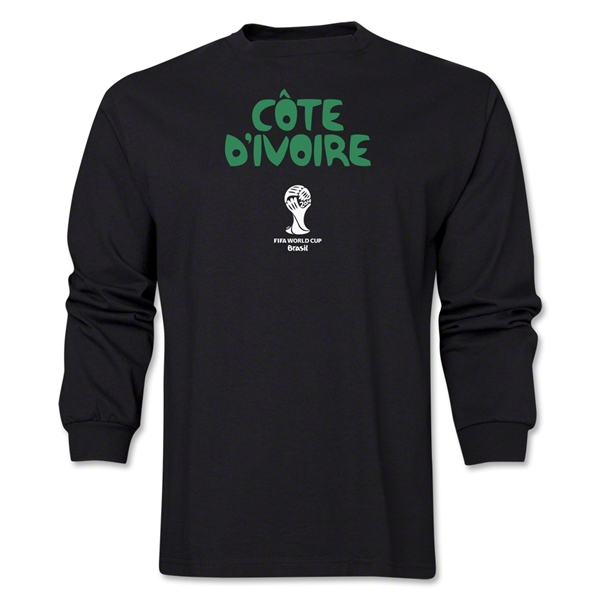 Cote d'Ivoire 2014 FIFA World Cup Brazil(TM) Men's LS Core T-Shirt (Black)