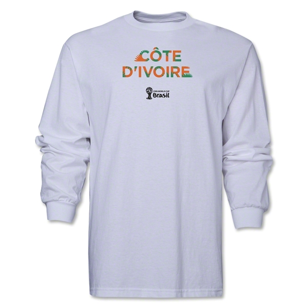 Cote d'Ivoire 2014 FIFA World Cup Brazil(TM) Men's LS Palm T-Shirt (White)